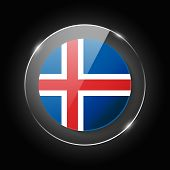 Iceland National Flag. Application Language Symbol. Country Of Manufacture Icon. Round Glossy Isolat poster