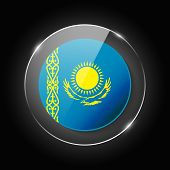 Kazakhstan National Flag. Application Language Symbol. Country Of Manufacture Icon. Round Glossy Iso poster