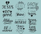 Set Of 12 Hand Lettering Christian Quotes I Love Jesus. Grace. God Bless You. Do Good. Grow In Chris poster