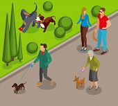 Dog Walking In Park, Canine Games On Green Lawn, Community Of Pets Owners Isometric Vector Illustrat poster