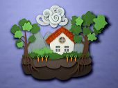 Papercut Small House Postcard. Paper Craft Landscape. Origami Crafted Paper House With Clouds Trees  poster