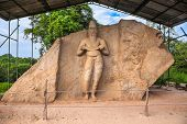 The ancient statue which is believed to be that of King Parakramabahu the Great (1153-1186 A.D.) at  poster