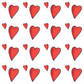 Love Vector Seamless Pattern: Sketchy Etching Hearts In A Doodle Style. Hearts Or Nubes Cute Romanti poster