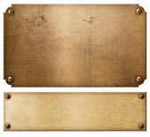 old copper metal plates or nameboards set with rivets 3d illustration poster