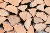 Wooden Background - Closeup. Firewood For The Winter, Stacks Of Firewood, Pile Of Firewood. Firewood poster