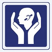pic of physically handicapped  - Hearing impairment care sign concept vector illustration - JPG