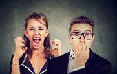 Angry Mad Woman Screaming And Fearful Stressed Man poster