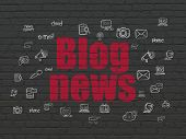 News Concept: Painted Red Text Blog News On Black Brick Wall Background With  Hand Drawn News Icons poster