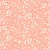 Tender Pink Doodle Happy Easter Seamless Pattern With White Hand Drawn Outline Eggs, Flowers, Lines  poster