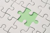 Missing Piece For Business Success Strategy Metaphor Concept, Closed Up Of White Jigsaw Puzzle Missi poster