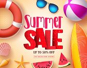 Summer Sale Vector Banner Design With Red 3d Sale Text And Colorful Beach Elements In Yellow Pattern poster