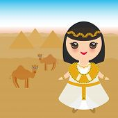 Ancient Egypt Girl In National Costume And Hat. Cartoon Children In Traditional Dress. Ancient Egypt poster