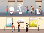 Museum Interiors With Visitors Looking At Exhibits Vector Illustration. Gallery Tour And Culture Mus poster
