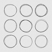 Doodle Sketched Circles. Hand Drawn Scribble Rings Isolated Vector Set. Doodle Circle Ring Scribble  poster