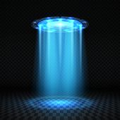 Ufo Blue Light Beam, Futuristic Alien Spaceship Isolated Vector Illustration. Ufo Futuristic, Spaces poster