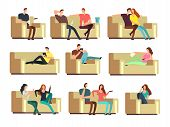 People Watching Tv, Resting With Phone, Snacking On Couch. Characters On Holiday Vector Set. Couple  poster