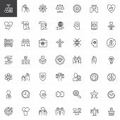 Ethics Universal Outline Icons Set. Linear Symbols Collection, Line Signs Pack. Vector Graphics. Set poster