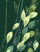 Green background with stylized contour branches and leaves