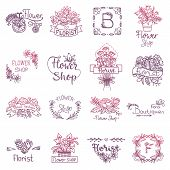 Flowers Lettering Vector Floral Sign For Shop And Flowered Greeting Card Invitation Spring Set Of Fl poster