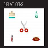 Icon Flat Animal Set Of Thermometer, Hound Eating, Scissors And Other Vector Objects. Also Includes  poster