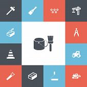 Set Of 13 Editable Construction Icons. Includes Symbols Such As Putty Knife, Handle Hit, Tractor. Ca poster