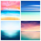 Abstract Vector Nature Blurred Background Set. 4 Colors Set. Square Blurred Nature Backgrounds Set - poster