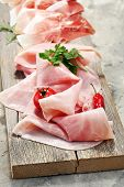 Sliced Ham On Wooden Background. Fresh Prosciutto. Pork Ham Sliced poster