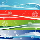 foto of snow border  - Abstract winter holidays and snowflake banners - JPG