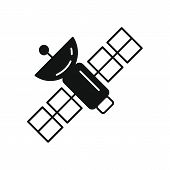 Science Satellite Icon In Silhouette Style. Space Illustration With Science Satellite In White Backg poster