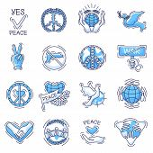 Peace Vector Peaceable Symbol Of Love And Peacefulness Or Peacekeeping Signs Illustration Set Of Pea poster