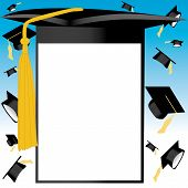 picture of graduation cap  - vector illustration of a graduation card and hats on air - JPG