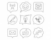 Mail, Photo Camera And Lightbulb Icons. Pen, Gps And Telecommunication Linear Signs. Faq, Like And S poster