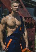 Man, Builder Or Bodybuilder With Strict Face. poster
