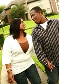 African American Couple Walking Outdoor poster