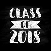 Class Of 2018. Hand Drawn Brush Lettering Graduation Logo. Template For Graduation Design, Party, Hi poster