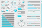 Interface Buttons. Web Toggle Switch And Push Buttons, Navigation Buttons And Slider Bars. Vector 3d poster
