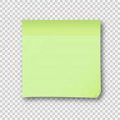 Green Post Note Paper Sheet Sticker. Vector Post Office Memo Or Remember Notepaper Sticky With Shado poster