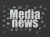 News Concept: Painted White Text Media News On Black Brick Wall Background With  Hand Drawn News Ico poster