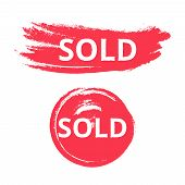 Sold Splattered Grunge Vector Circle Set Isolated On White Background. Business Red Blob For Ecommer poster