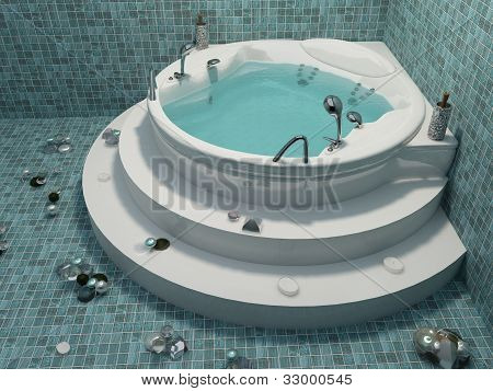 Bath With Decoration In Bathroom Interior