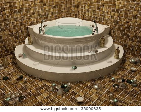 Angle Bath With Candle In Romantic Bethroom Interior