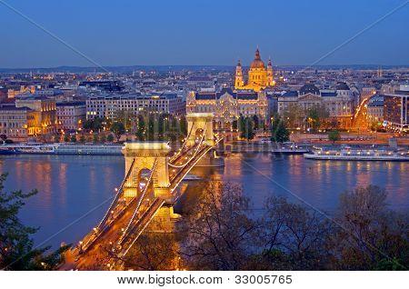 Budapest Chain Bridge Skyline