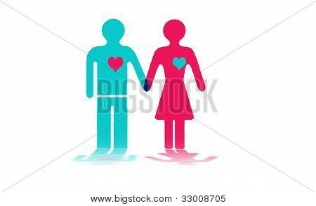 Figuras de um homem e mulheres de mãos dadas