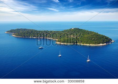 Picturesque nature seascape with cruise yachts.