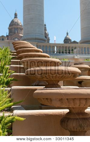 Staircase At Palau Nacional In Barcelona, Spain.