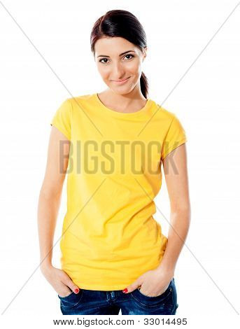 Trendy Teen Girl Half Length Portrait