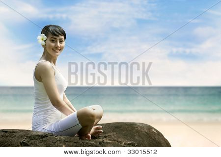 Young Asian Woman Smiling At Beach