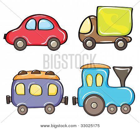 Set of cartoon color cars
