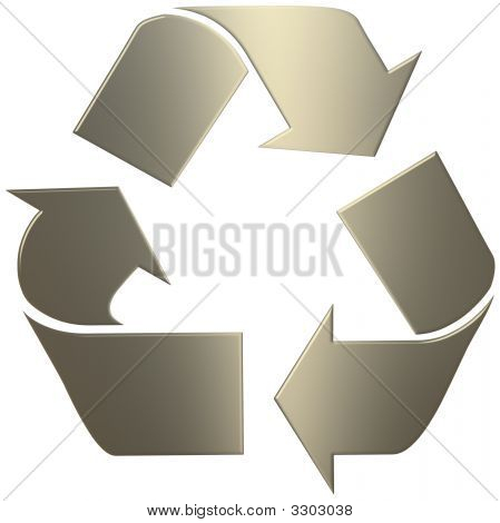 3D Gold Recycle Symbol