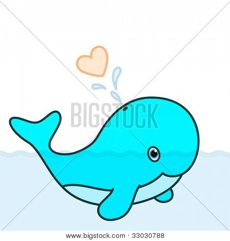 Cute baby whale cartoon character swimming in the big ocean with tail lifted up above the water and blowing a big heart water splash